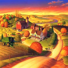 Fall On The Farm  Painting by Robin Moline