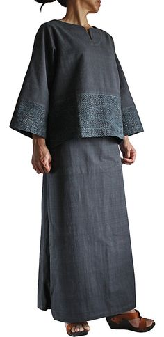 ChomThong Hand Woven Cotton Blouse with Hmong Batik  by SawanAsia, ¥6990