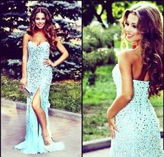 Strapless Prom Dresses,Long Prom Dresses,http://www.storenvy.com/products/17443910-gorgeous-sexy-prom-dresses-crystal-prom-dresses-with-slit-prom-dresses-strap