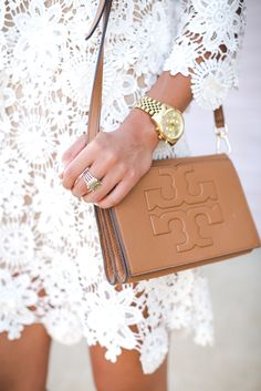 Pretty dress & I love the Tori Burch crossbody.