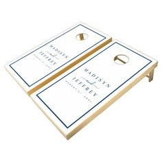 Navy Blue & White Minimalist Personalized Wedding Cornhole Set - tap to personalize and get yours #CornholeSet #cornhole, #game, #wedding, #simple, #corn
