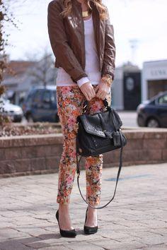 Floral Jeans + leather jacket