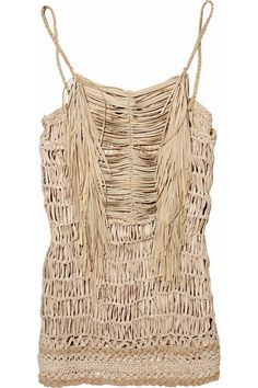 Gucci Macramé woven leather and silk top