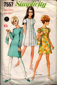 5442700aa7 Simplicity 7557 Young Junior Teens Puff or Long Sleeved Shift Dress   Bag 60s  Vintage Sewing Pattern Size 13 14 Bust 33 1 2 inches