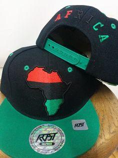 Green/Black Africa Map Baseball Caps   Rasta Baseball Caps   Closure: Plastic Snap closing  Size: One Size Fits most  Material: 100% Acrylic