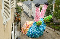 Gigantic Slugs Made From 40,000 Recycled Plastic Bags Crawl Through the Streets of Angers, France