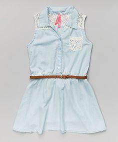 Love this Light Wash Denim Belted Dress - Girls on #zulily! #zulilyfinds 16.00