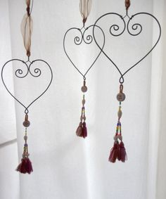 handmade wire heart with tassel by Rosehilde on Etsy