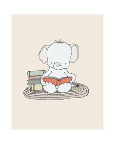 Elephant Bookworm Elephant Nursery Art Print por SweetMelodyDesigns, $15.00