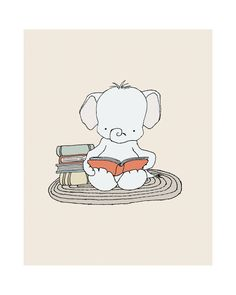 Elephant Bookworm Elephant Nursery Art Print por SweetMelodyDesigns, $15.00