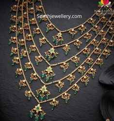 Layered pearl strings panchlada necklace adorned with polki emerald bead motifs by Navrathan Jewellers. Pearl Necklace Designs, Gold Earrings Designs, Gold Necklace, New Gold Jewellery Designs, Jewelry Design, Gems Jewelry, Wedding Jewelry, Coral Jewelry, Beaded Jewelry