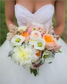 white orange and pink bouquet @weddingchicks