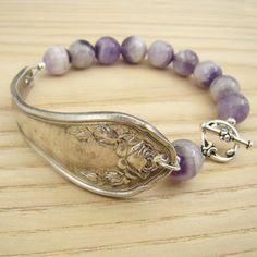 Spoon handle bracelet with purple amethyst by laurelmoonjewelry, $20.00