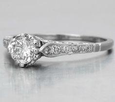 Diamond Ring - Anello Solitario in Stile Antico con Diamante Certificato GIA #women #wedding #Gifts