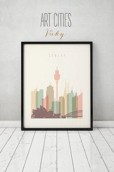 Sydney print Poster Wall art Sydney skyline por ArtPrintsVicky