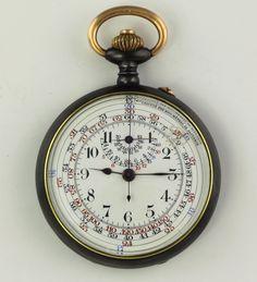 Marine precision chronograph with rare tachymeter Scale Taschenuhr Pocket watch