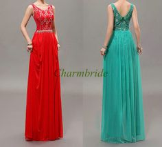 Long red chiffon and lace prom dresses,elegant gowns for evening party in blue-green,cheap simple holiday dress on sale. on Etsy, $129.00