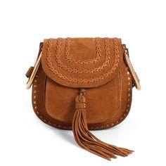 Chloe'Mini Hudson' Crossbody Bag ($1,890) ❤ liked on Polyvore featuring bags, handbags, shoulder bags, caramel, mini crossbody handbags, flap crossbody, brown crossbody purse, crossbody purse and brown purse