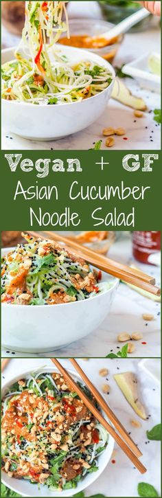 Vegan + GF Asian noodle salad mad with cucumbers, rice noodles, mint + cilantro and topped with a creamy almond ginger dressing. Ready in 30 mins. Light yet filling enough for a full meal. |avocadopesto.com
