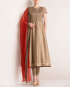 Antique Golden Anarkali Suit