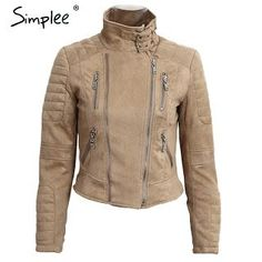 Simplee Faux leather suede outerwear & coats Short slim basic jackets female jacket coat women Winter 2016 autumn streetwear (32748268807)  SEE MORE  #SuperDeals
