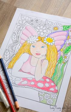 Free Printable Little Fairy Coloring Page For Adults