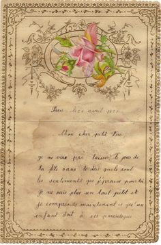 French love letter Marriage 1800s