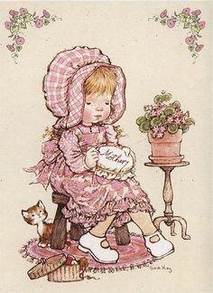 Bordadora - Sarah Kay - I remember making mom her first cross stitch. Sarah Key, Holly Hobbie, Beatrix Potter, May Arts, Decoupage Paper, Vintage Embroidery, Cute Dolls, Illustrations, Cute Illustration
