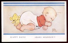 Artist- MABEL LUCIE ATTWELL 1930s Comic Baby Sleeping with Teddy Bear