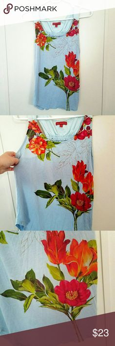 Anthro One September Floral Tank Top One September brand from Anthropologie light blue tank top with beautiful floral print.  Some very minor pre-pilling.  Gently used and in excellent condition!  Size Medium Anthropologie Tops