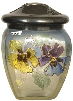 "7 1/2"" ART GLASS BISCUIT JAR"