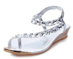 Fortuning's JDS 2016 New summer glitzy rhinestone thongs flat sandals for women and girls * More info could be found at the image url.