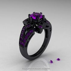 Art Deco Black Gold Alexandrite Wedding Ring, Engagement Ring - This luxurious Art Deco ring features carat round center stone with 26 preset ~ rou - Cute Jewelry, Bridal Jewelry, Jewelry Accessories, Jewelry Design, Jewelry Rings, Jewelry Art, Stylish Jewelry, Jewelry Ideas, Black Gold Jewelry