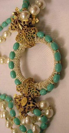 Stanley Hagler - Collier Multirangs - Perles Ivoire et Turquoise - Ian St Gielar