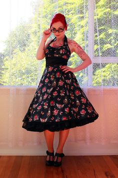 $121.94  Red Skull Pin up Dress 'Araminta'  in a Full Skirted 1950s, Rockabilly, Psychobilly, Pin up Style with Ric Rac and Bows - custom made to fit...