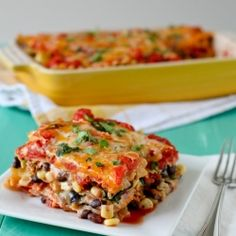 Mexican Lasagna - A low maintenance, drool-worthy vegetarian meal. #foodgawker