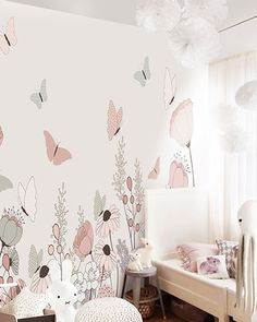 Kids' Room Ideas: Creating a Mural from Wallpaper Kids Room Murals, Bedroom Murals, Bedroom Wall, Bedroom Decor, Room Kids, Girls Bedroom Mural, Childrens Wall Murals, Baby Room Design, Girl Bedroom Designs