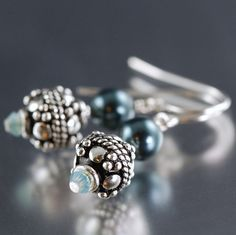 Tahitian blue pearl earrings with sterling silver accents
