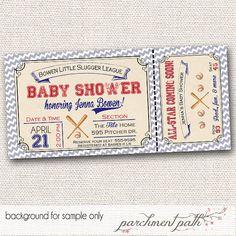 Vintage Baseball Baby Shower Invitation - Personalized Invite - Printable on Etsy, $12.00