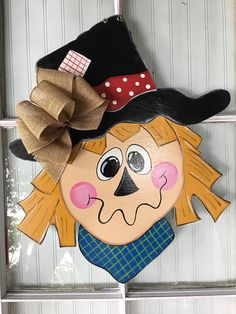 Items similar to Front door decor, fall decorations, scarecrow door hanger, fall wreath on Etsy Fall Wood Crafts, Halloween Wood Crafts, Fall Halloween, Halloween Witches, Wooden Crafts, Halloween Door Hangers, Fall Door Hangers, Burlap Door Hangers, Fall Door Decorations