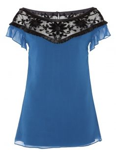 Overtly feminine and eye catchingly pretty, the ALICE by Temperley  Vanessa Top has a solid silk body and sheer tulle neck yoke embroidered  with textural satin flowers. Edged with a satin box pleated ribbon that  runs gently around the neck line and back, the look is finished with  delicately capped sleeves.           Fabric Composition: 100% Silk: LINING LINING 98% Polyester, 2% Elastane        Runs large in size, would suggest purchasing one size smaller.        Standard top length…