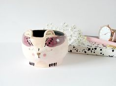 Pink Bear Ring Dish Trinket Pot Ceramic by TheMintyMountain