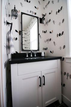 Modern Farmhouse | Remedy Design Portfolio | Half Bath | wallpaper | bird wallpaper