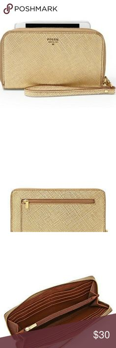 "Gold pebbled leather zip around wallet Product Descriptions: Style: SL4265710 Main Color: gold Size: (measured from outside) 7.75""L x 0.75""W x 4.25""H Closure: zip-around closure Exterior:  made of soft pebbled leather1 back zipper closure pocket Interior:twill - 100% cotton12 credit card slots, 2 media pockets, 2 gusseted pockets, zipper pocket  New with no tags Fossil Bags Wallets"