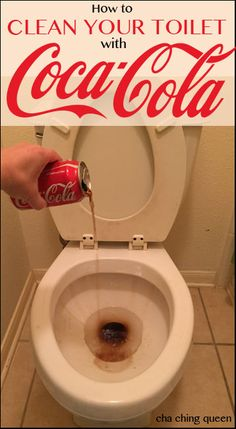 How to clean your toilet with Coke. Get rid of toilet bowl stains with Coca Cola. Cleaning With Coke, Deep Cleaning Tips, House Cleaning Tips, Diy Cleaning Products, Spring Cleaning, Cleaning Hacks, Cleaning Solutions, Toilet Cleaning, Bathroom Cleaning