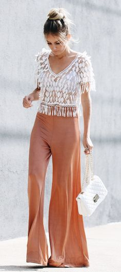 #summer #outfits Wide Leg Pants Look Has Become My Go-to For Bridal Showers & Birthdays. Sharing My Top 3 Outfits For Any Event You Might Be Invited To On The Blog!