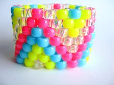 Neon Kandi Cuff Bracelet ZigZag Raver Plur Hot Pink by Allysin