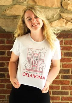 Oklahoma Sooners Womens White Landmark Short Sleeve T-Shirt - 74280784 University Of Oklahoma, Oklahoma Sooners, Short Sleeve Tee, T Shirts For Women, Tees, Fashion, Moda, Short Sleeve Hoodie, T Shirts