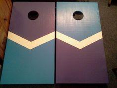purple and blue chevron cornhole boards cornhole designsgame ideasfun