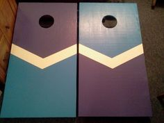 Purple and blue chevron cornhole boards Homemade Kids Gifts, Gifts For Kids, Cornhole Set, Cornhole Boards, Bean Bag Boards, Cornhole Designs, Corn Hole Game, Craft Day, Diy Games